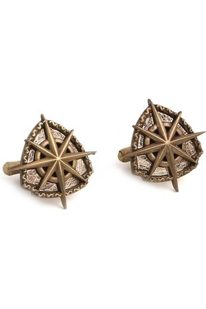 COSA NOSTRAA Antique Gold-Toned The Star Shield Textured Cufflinks