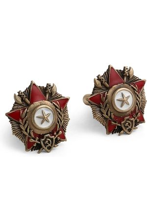 COSA NOSTRAA Antique Gold-Toned & Maroon Enamelled The Hannibal Textured Cufflinks