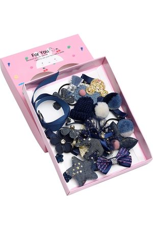 YouBella Blue & Yellow Set of 7 and more Embellished Hair Accessory Set
