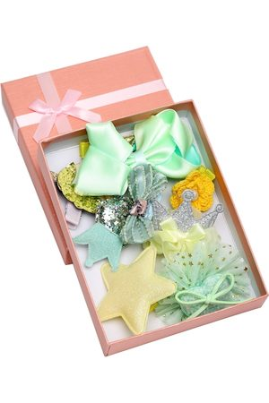 YouBella Green & Yellow Set of 7 and more Embellished Hair Accessory Set