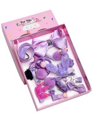 YouBella Purple & Pink Set of 18 Embellished Hair Accessory Set