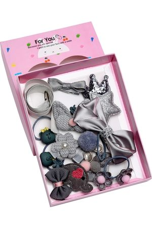 YouBella Hair Accessories - Grey & Pink Set of 18 Embellished Hair Accessory Set