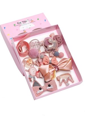 YouBella Pink & Beige Set of 7 and more Embellished Hair Accessory Set