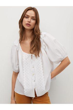 MANGO White Organic Cotton Tie-Up Neck Schiffli Embroidered Ruffled Top