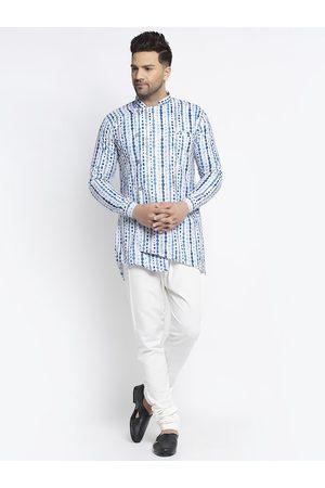 Benstoke Men Multi Printed Angrakha Kurta with Pyjamas