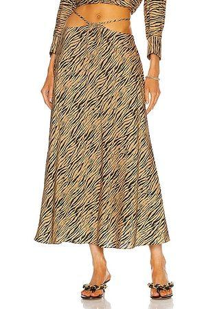 JONATHAN SIMKHAI Women Printed Skirts - Shiloh Zebra Printed Strap Detail Skirt in Teak &