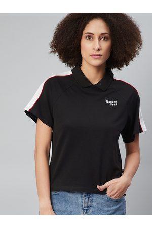 Roadster Women Black Polo Collar T-shirt