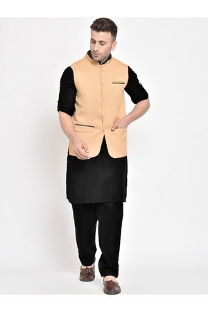 Hangup Men Khaki Layered Pure Cotton Kurta with Pyjamas