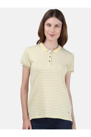 Monte Carlo Women Yellow & White Striped Polo Collar T-shirt