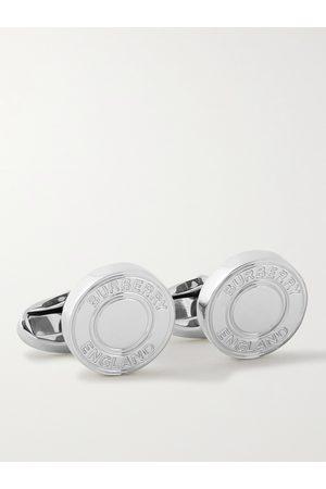 Burberry Logo-Engraved Palladium-Plated Cufflinks