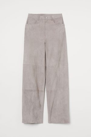 H&M Wide suede trousers - Grey