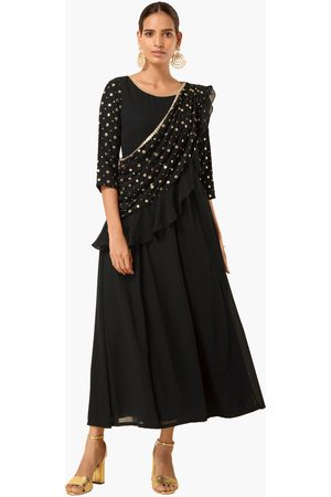 INDYA Women Mirror Embellished Maxi Tunic with Attached Dupatta