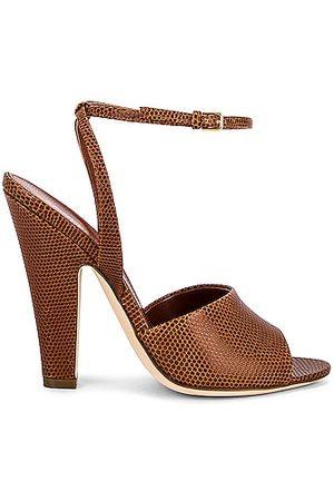 Saint Laurent Scandale Sandals in Cognac