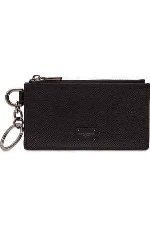 Dolce & Gabbana Logo Label Leather Zip Card Holder