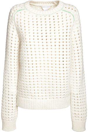 Bottega Veneta Women Jumpers - Wool Open Cable Knit Crewneck Sweater