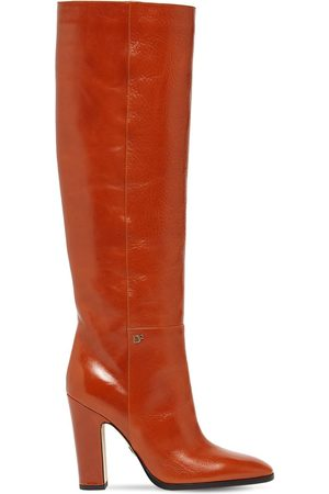 Dsquared2 Women High Leg Boots - 100mm Polished Leather Tall Boots