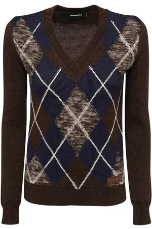 Dsquared2 Argyle Wool Knit Sweater