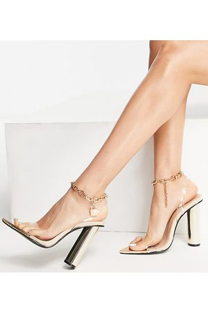 Public Desire Expression block heeled sandals with padlock detail in