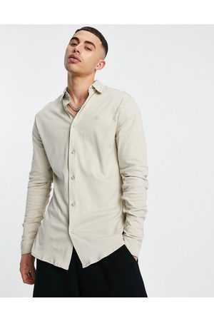 River Island Long sleeve jersey muscle fit shirt in stone