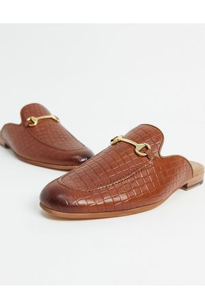 WALK LONDON Terry backless mule loafers in tan embossed leather