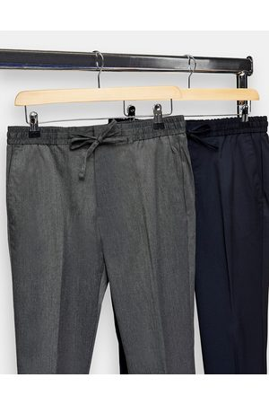 Topman Skinny 2 pack joggers in charcoal grey and navy