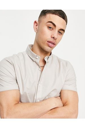 New Look Short sleeve muscle fit oxford in stone