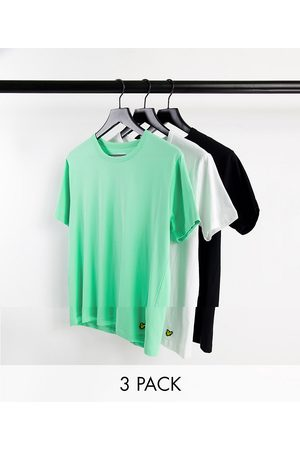 Lyle & Scott 3 pack crew t-shirts in black white and green