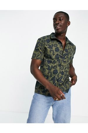 New Era Co-ord revere shirt with in green with navy floral print