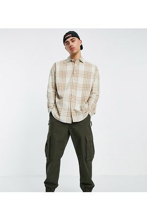 New Look Long sleeve oversized check shirt in stone