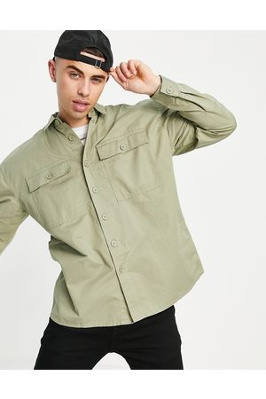 New Look Relaxed fit overshirt in washed khaki