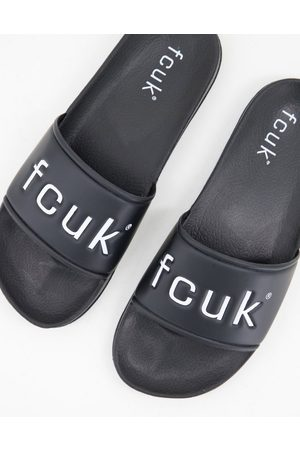 French Connection Men Sandals - FCUK sliders in and white