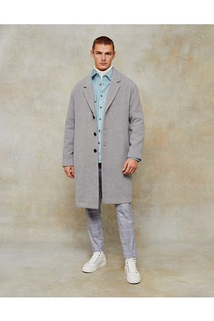 Topman Dropped shoulder coat with wool in