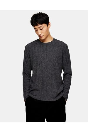 Topman Long sleeve ribbed t-shirt in charcoal