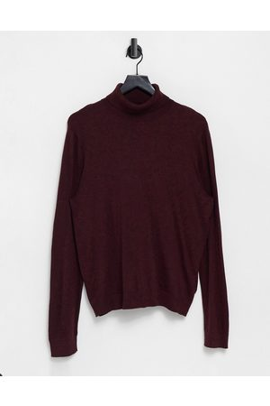 Topman Organic knitted roll neck in burgundy