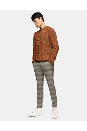 Topman Skinny check trousers in brown
