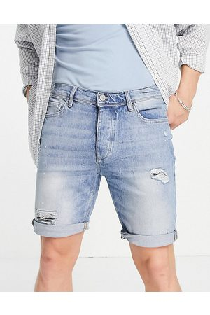 River Island Slim denim shorts with rips in mid
