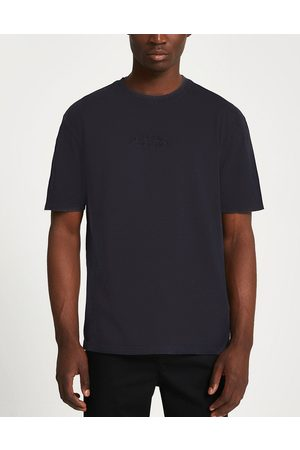 River Island Men Short Sleeve - T-shirt with Paris logo in washed
