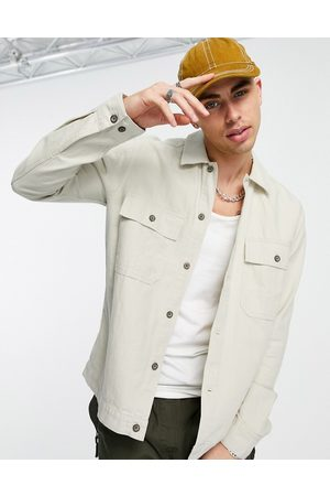Only & Sons Linen mix overshirt with chest pockets in beige