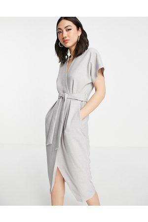 Closet Women Midi Dresses - Wrap tie midi dress in