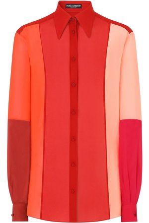Dolce & Gabbana Women Long Sleeve - Colour-block silk shirt