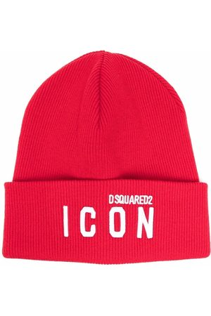 Dsquared2 Men Beanies - Icon logo-embroidered knitted beanie