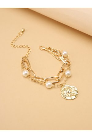 YOINS Graphic Double Layer Pearl Alloy Chain
