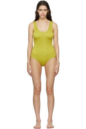 Women Swimsuits - Bottega Veneta Yellow Crinkled One-Piece Swimsuit