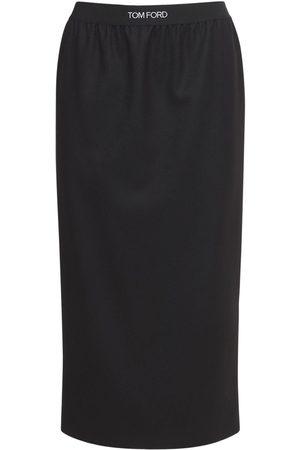 Tom Ford Logo Cashmere Jersey Midi Skirt