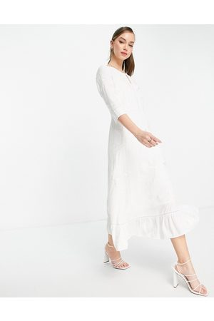 French Connection Dija embroidered midi dress in