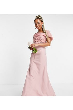 Missguided Bridesmaid bandeau gown with organza detail in blush