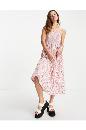 ONLY Cami midi sundress with shirring in floral print
