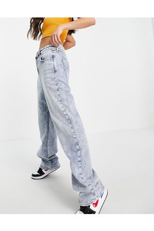 River Island 90's straight cut acid wash jeans in light
