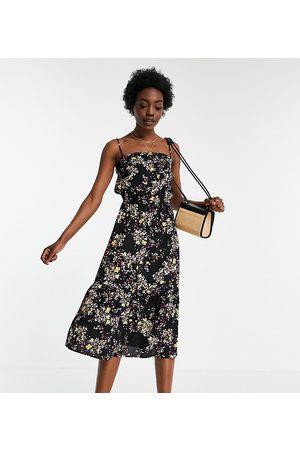 VERO MODA Cami midi dress in black ditsy floral