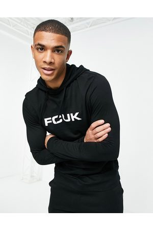 French Connection FCUK long sleeve logo hooded top in